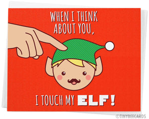 "Naughty Christmas Card ""Touch My Elf"""