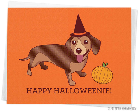 "Halloween Dachshund Card ""Happy Halloweenie"""