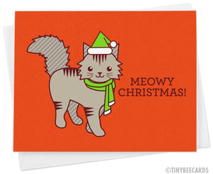 "Cat Christmas Card ""Meowy Christmas"""