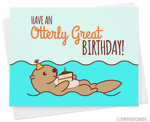 "Funny Birthday Card ""Have an Otterly Great Birthday!"""