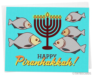"Funny Hanukkah Card ""Happy Piranhakkah"""