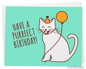 "Cute Birthday Card ""Purrfect Birthday"""