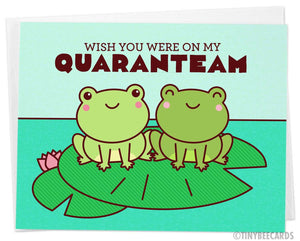 "Miss You Quarantine Frogs Card ""Wish You Were On My QuaranTEAM"""
