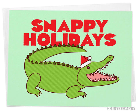 "Funny Alligator Christmas Card ""Snappy Holidays"""