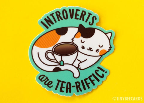 "Introverts Cat Vinyl Sticker ""Introverts are Tea-Riffic"" - cute calico cat, tea laptop sticker, cat lover gift, cat owner gift, animal decal"