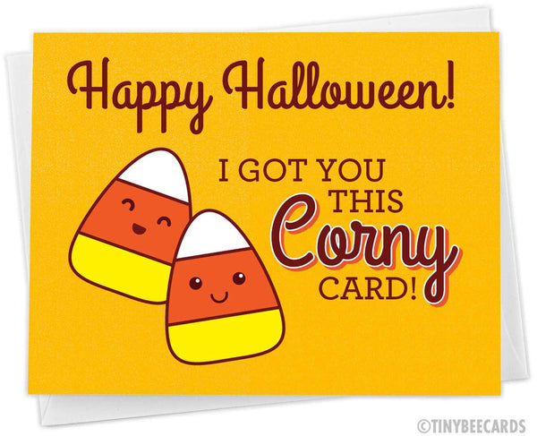 "Candy Corn Happy Halloween Card ""Corny Card"""
