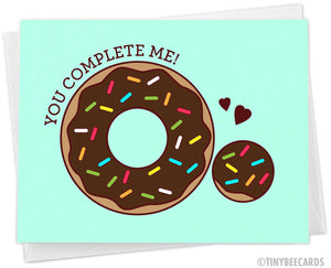 "Funny Donut Hole Love Card ""You Complete Me"""