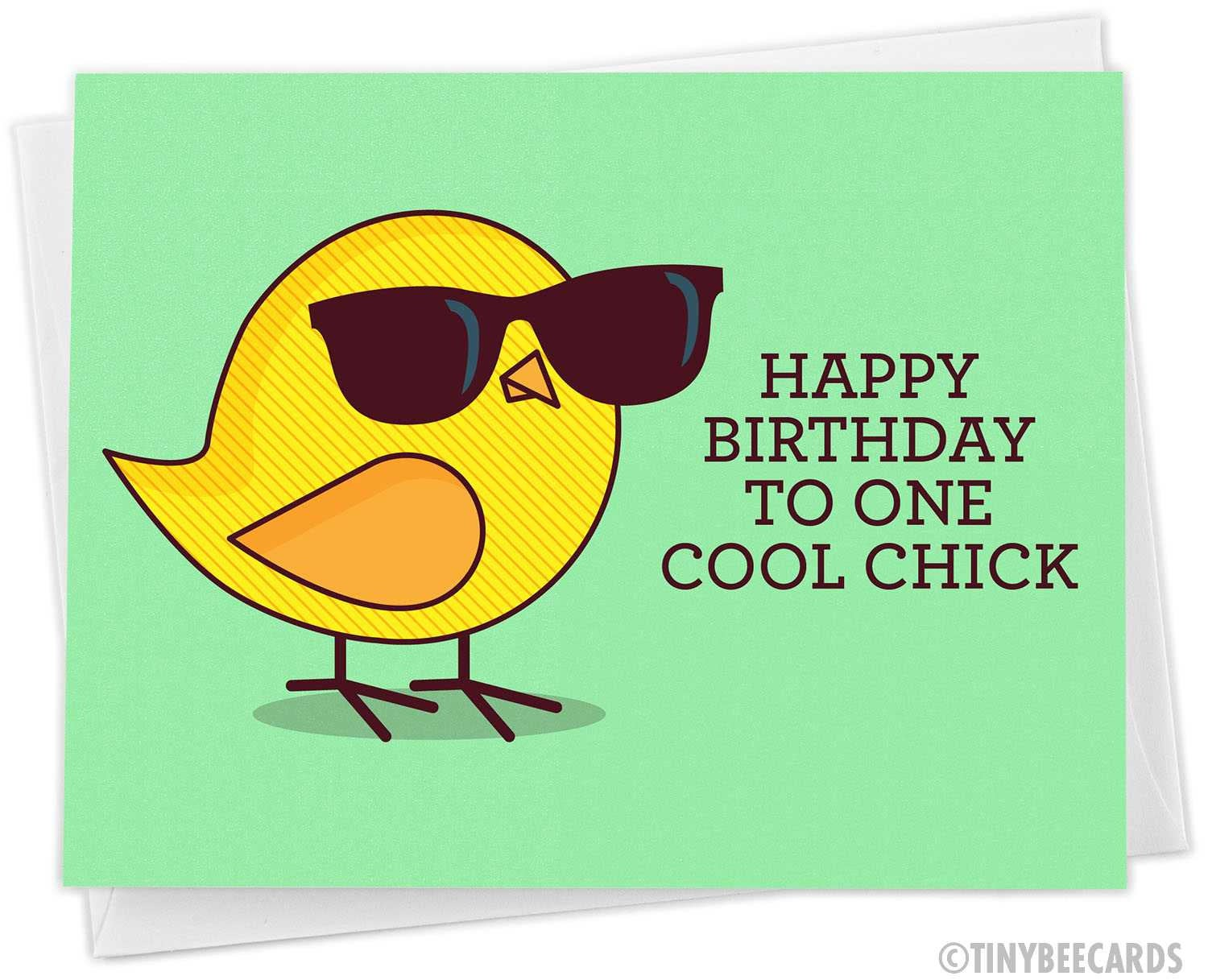 "Funny Birthday Card For Her ""Happy Birthday to One Cool Chick"""