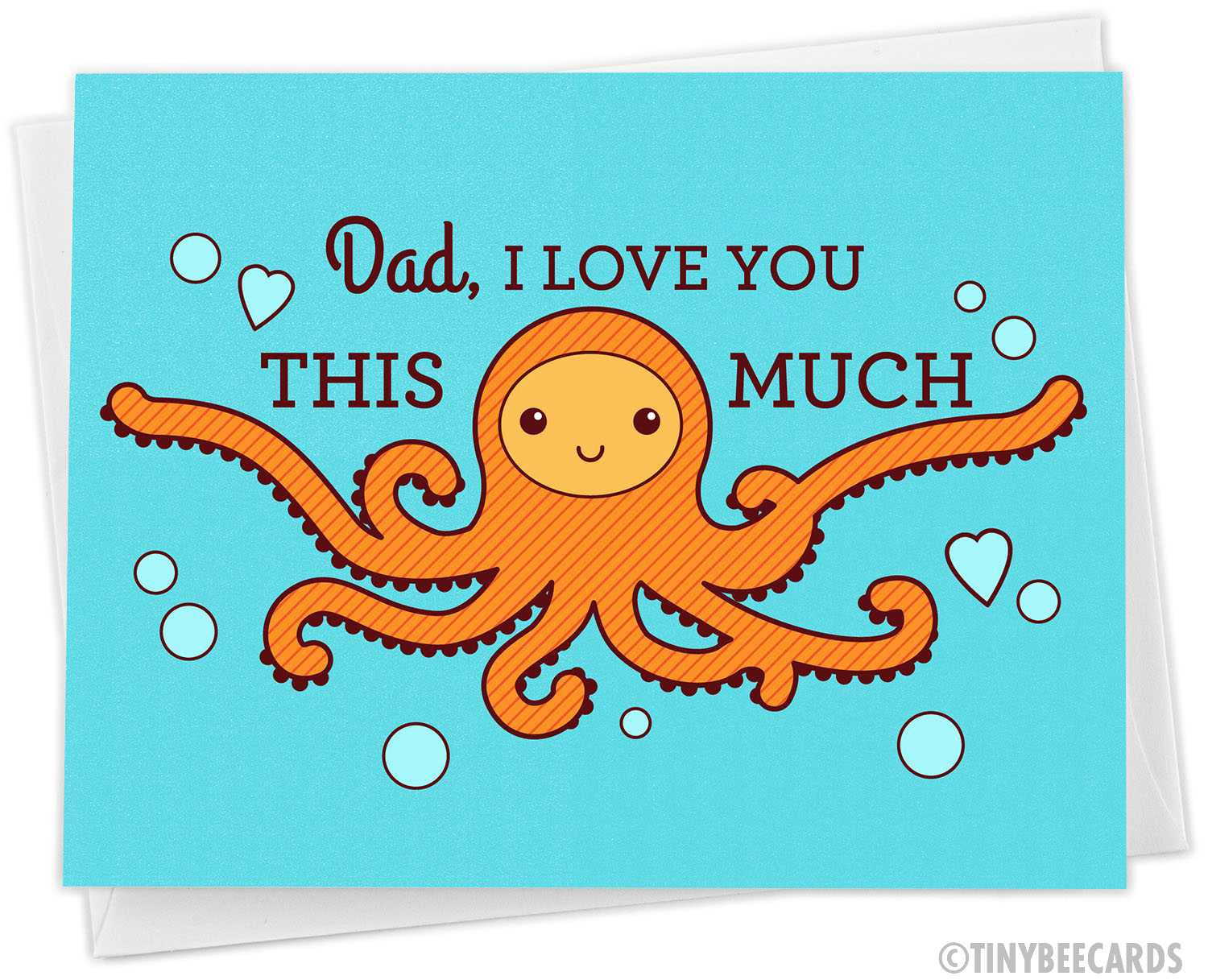 "Funny Fathers Day Octopus Card ""I Love You THIS MUCH"""