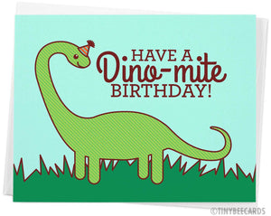 "Dinosaur Birthday Card ""Have a Dino-mite Birthday!"""
