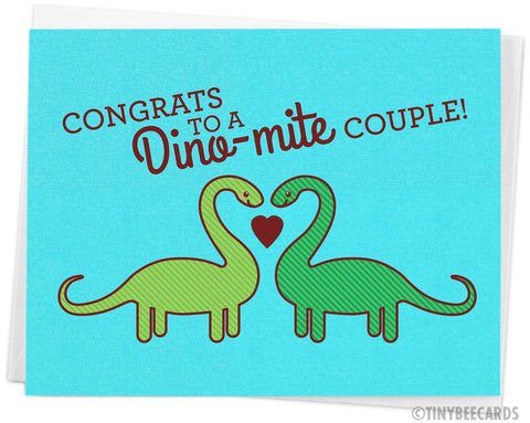 "Cute Dinosaur Wedding Card ""Congrats to a Dino-mite Couple!"""