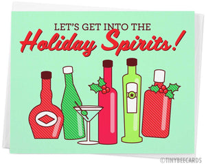 "Funny Alcohol Christmas Card ""Get Into the Holiday Spirits"""
