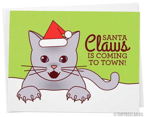 "Funny Christmas Card ""Santa Claws"""