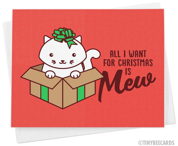 "Cat Christmas Card ""All I Want for Christmas is Mew"""