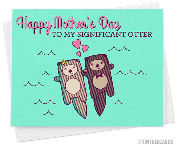 """Cute Mother's Day Card for Wife """"Happy Mother's Day to my Significant Otter"""" 1"""