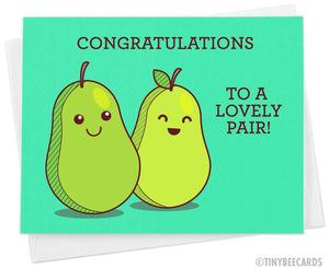 "Funny Pear Wedding Card ""Congratulations to a Lovely Pair!"""
