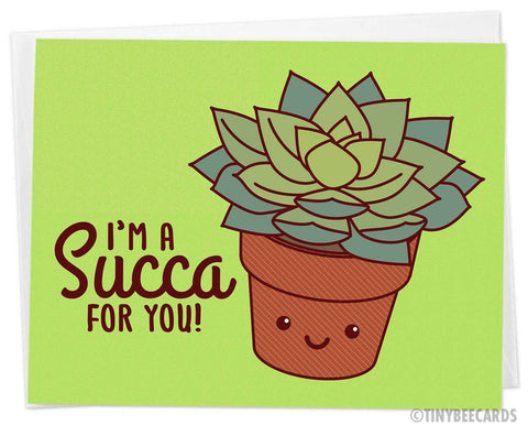 "Cute Succulent Love Card ""I'm a Succa for You!"" - kawaii valentine's day card, cute anniversary card, plant lover card, husband wife card"