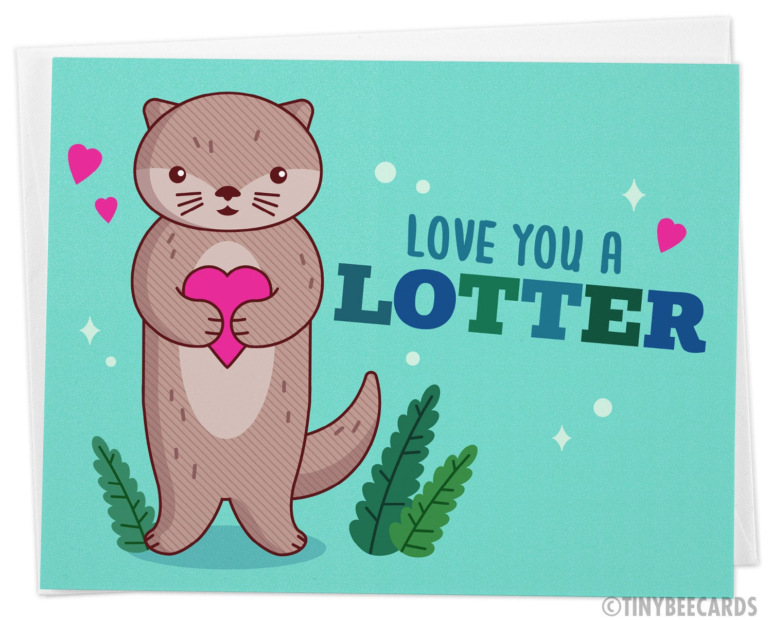 Otter Love Card 'Love You a Lotter' - cute pun card, cute funny greeting card, anniversary or birthday for boyfriend girlfriend husband wife