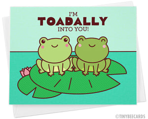 "Cute Frog Love Card ""I'm Toadally Into You"" - cute valentine or anniversary card, toad & frog lover, boyfriend girlfriend husband wife card"