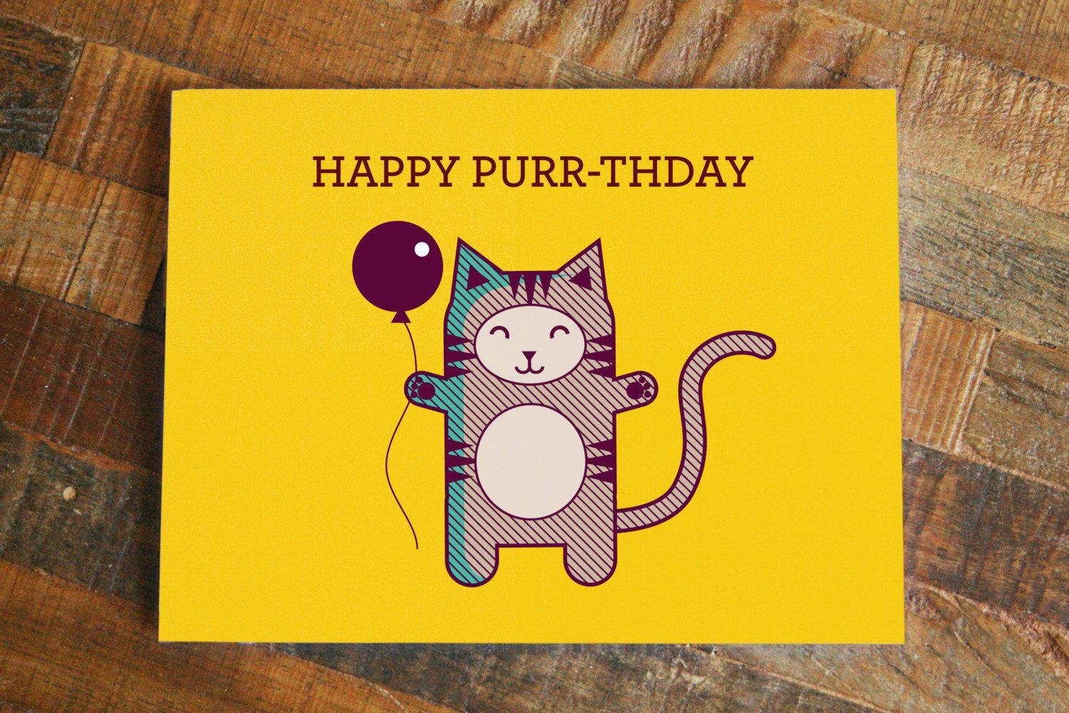 "Cat Pun Birthday Card ""Happy Purr-thday"" - Funny Card, Cute Cat Card, Pun Greeting Card, Animal Pun, Cat Lover, Humor Birthday Card"