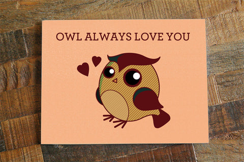 "Love Greeting Card ""Owl Always Love You"" - Cute Pun Card, Cute Owl Card, Anniversary Card, Love Card, Owl Art, Boyfriend Girlfriend,"