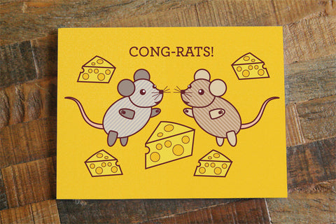 "Funny Congratulations Card ""Cong-rats!"" - Pun card, funny card, animal art, cute rats, bright colorful card, graduation card engagement card"
