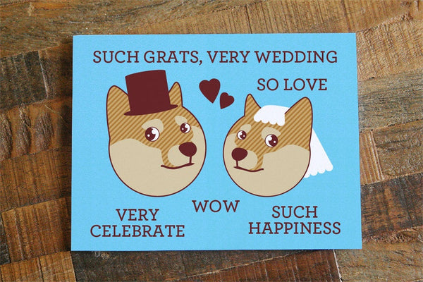 "Funny Wedding Card Doge ""Such Grats, Very Wedding"""