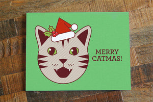 "Cute Christmas Card ""Merry Catmas"" - Funny Christmas card, Cat Christmas Card, Holiday Pun Card, Geek Christmas Cards, Nerd Christmas Card"