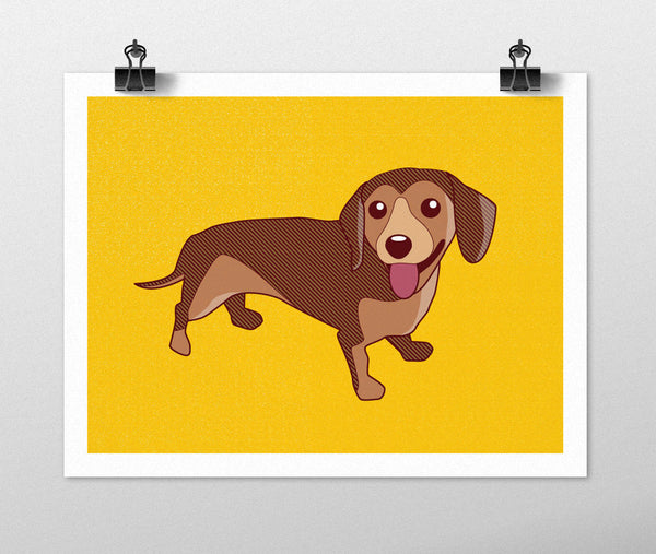 Dachshund Dog Art Print Dog Prints Series - Doxie drawing, dog breeds, dachshund art, orange art, dog gift, doxie wall decor, weiner dog
