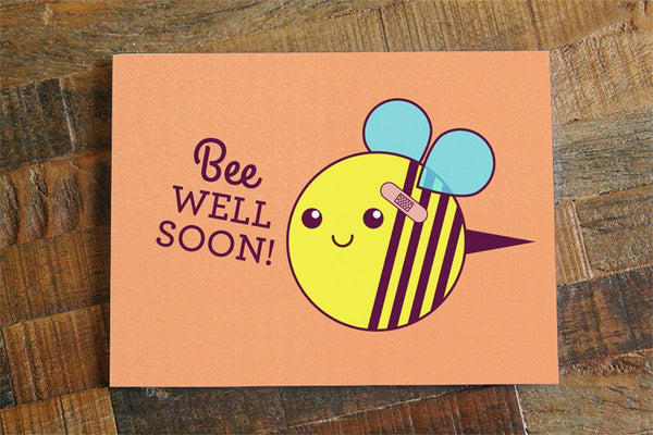 "Get Well Soon Card ""Bee Well Soon"""
