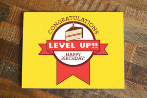 "Gamer Birthday Card ""Level Up""-Greeting Card-TinyBeeCards"