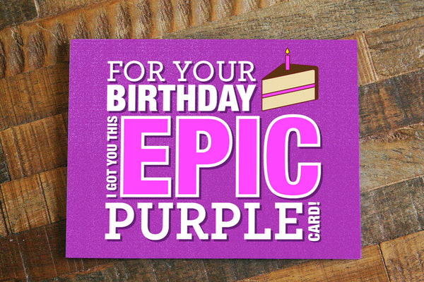 "Funny Gamer Card ""Epic Purple"" - Geeky Birthday Card, Nerdy Birthday Card, Gamer birthday card, Gaming, funny birthday card, MMO player"
