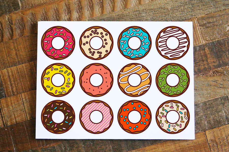 Just Because Card with Donuts, Donut card, greeting cards, gift card, gift note, thinking of you card, all occasion card, note cards