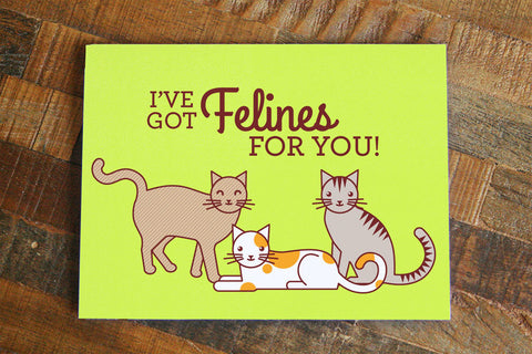"Funny Cat I Love You Card ""I've got Felines for you!""-Greeting Card-TinyBeeCards"