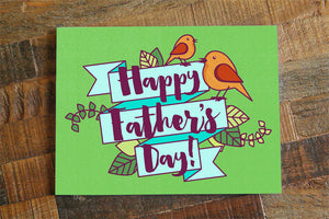 Cute Father's Day Card - Calligraphy card, Happy Father's Day, Card for Dad or Father in law, dad cards, bird card, typography card