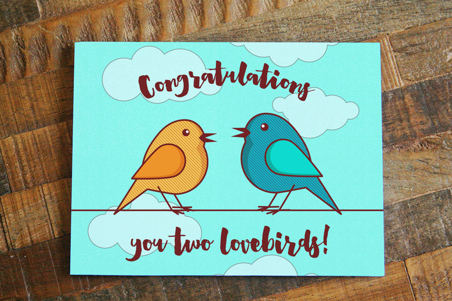 "Cute Wedding Card ""Congratulations you two lovebirds!""-Greeting Card-TinyBeeCards"