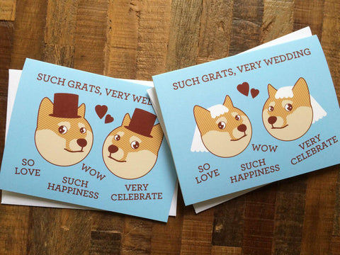 "Gay or Lesbian Wedding Card - Doge Meme ""Such Grats, Very Wedding"" - Funny wedding card,  internet meme card, shibe doge, gay wedding card"
