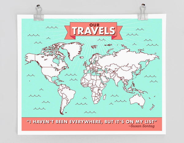 Color-in Travel Map Poster - interactive map, places I've been, travel wall art, wall decor, color in map, christmas gift for traveler