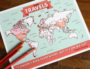 Color-in Travel Map Art Print-Art Print-TinyBeeCards