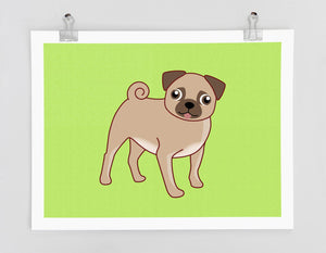 Pug Dog Art Print - Dog Prints Series. pug drawing, dog breeds, pug art, green art, dog lover gift, pug wall decor