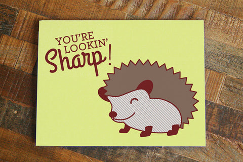 "Cute Hedgehog Pun Card ""You're Lookin' Sharp"" - Silly Card, Love or Friendship Card, Thinking of You, Cute Animal Art, Best Friend Gift"
