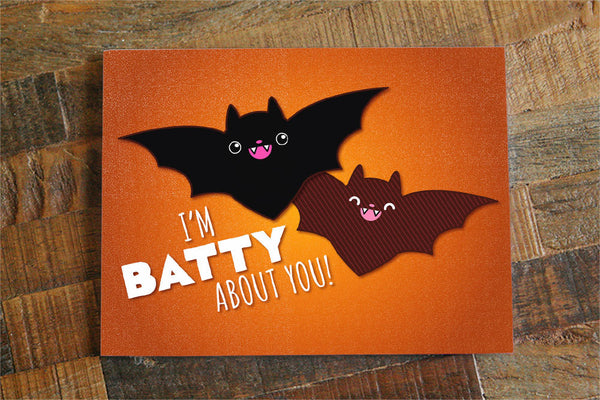 "Funny Halloween Card ""I'm Batty About You!"" - bat pun card, halloween love card, for boyfriend, for girlfriend, for wife, for husband"