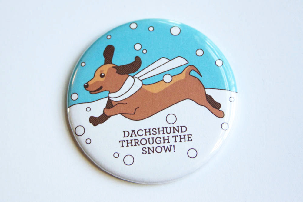 Dachshund Holiday Magnet, Pin or Pocket Mirror-Button-TinyBeeCards
