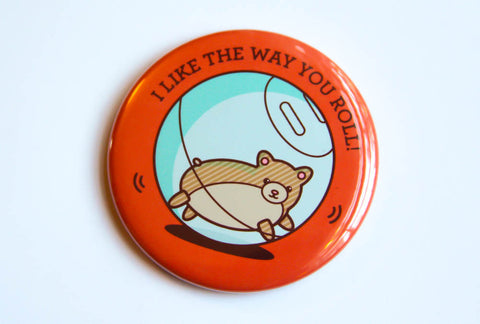 Hamster Magnet, Pin, or Pocket Mirror - cute fridge magnet, refrigerator magnet, pinback button, stocking stuffer, hamster gifts
