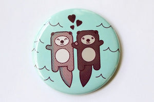 Otters Refrigerator Magnet, Pin, or Pocket Mirror - love or engagement gift, otters holding hands, fridge magnet, nerdy gift, party favor