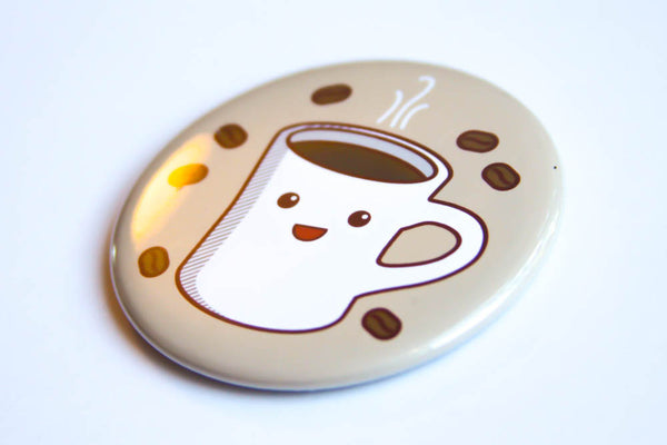 Coffee Magnet, Pin, or Pocket Mirror - cute pin, refrigerator magnet, coffee lover gift, stocking stuffer, kawaii coffee, fridge magnet