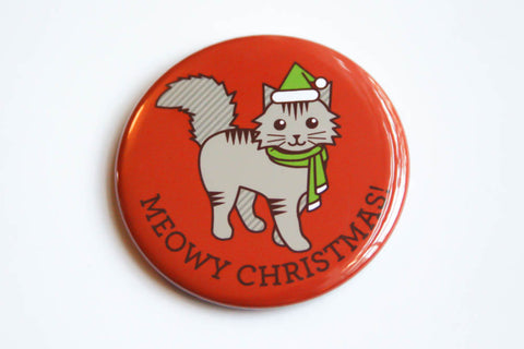 "Cat Magnet, Pin, or Mirror ""Meowy Christmas!""-Button-TinyBeeCards"