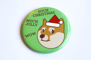 Christmas Doge Fridge Magnet, Pin or Mirror - Holiday magnet, shibe doge, geek gift, stocking stuffer, funny christmas gift, dog magnet
