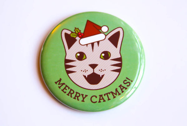 "Cat Magnet, Pin, or Mirror ""Merry Catmas!"" - cat button badge, christmas decor, stocking stuffer, cat lover gift, cat lover, fridge magnet"