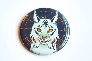 Space Cat Magnet, Pin, or Pocket Mirror - lynx cat, mystical lynx, cat art, cat pinback button, cat lover gift, cute cat, stocking stuffer